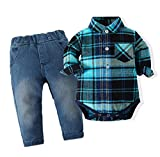 Baby Boy's Casual Long Sleeve Romper Shirt Clothing Set Blue Plaid Top Denim Pants 12-18M