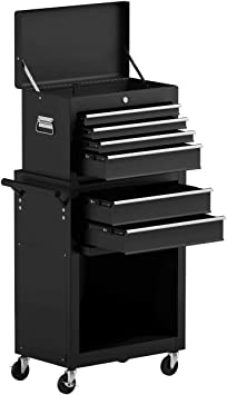 Goplus 6-Drawer Rolling Tool Chest Removable Tool Storage Cabinet with Sliding Drawers, Keyed Locking System Toolbox Organizer (Black): image