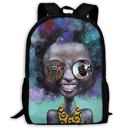 ADGBag School Backpack Afro Girls Black Girl African American Girl Happy Smile Bookbag Casual Travel Bag For Teen Boys Girls Shoulder Bag Book Scholl Travel Backpack Mochila para niños