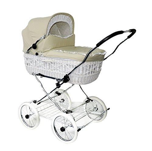EICHHORN Weidenkorb Kinderwagen Korb Weiß Stoff Beige