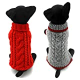 Dofyou Pack of 2 Turtleneck Classic Cable Knit Dog Cat Pet Sweater Apparel Classic Red and Grey (M)