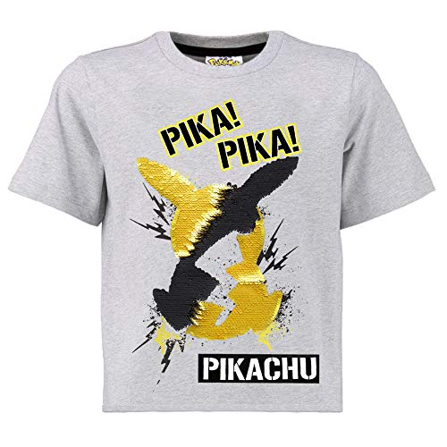 Pokemon Zwei Wege Pailletten JungenT-Shirt | Baumwollgraues Top mit Pikachu Motiv mit umgekehrter Paillette in Schwarz und Gold | Geschenkidee für Kinder & Jugendliche (6/7 Jahre)