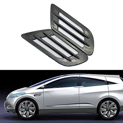 2 x Nouveau Design Auto bricolage de voiture 3d Noir en fibre de carbone Shark Gill côté Air Vent Fender Cover trou Conduit d'admission Flux Grille Décoration Autocollant
