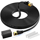 Cat 7 Ethernet Cable 75 ft, High Speed Flat Design Long Ethernet Cable with RJ45 Coupler, Shielded RJ45 Network Cable for Network Switches, Routers, PS4, Backward Compatible with Cat6/Cat 5e/Cat 5