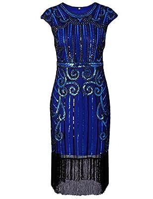 Maketina Roaring 20s Vintage Fringes Sequin Beaded Embellished Gatsby Flapper Dress