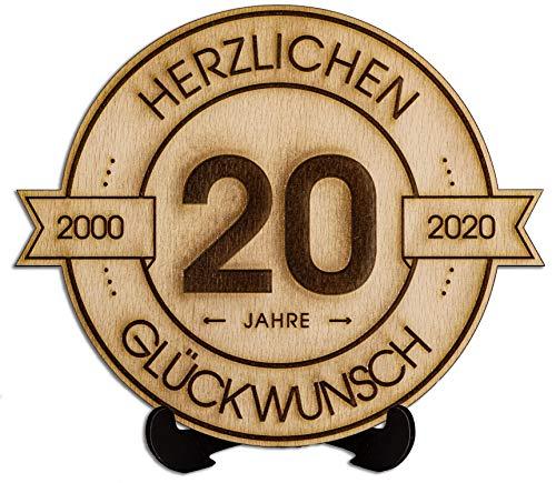 DARO Design - Holzscheibe graviert - 20 Jahre - Größe 20cm- Geschenk zum Jubiläum, 20 Geburtstag, Jahrestag - Herzlichen Glückwunsch
