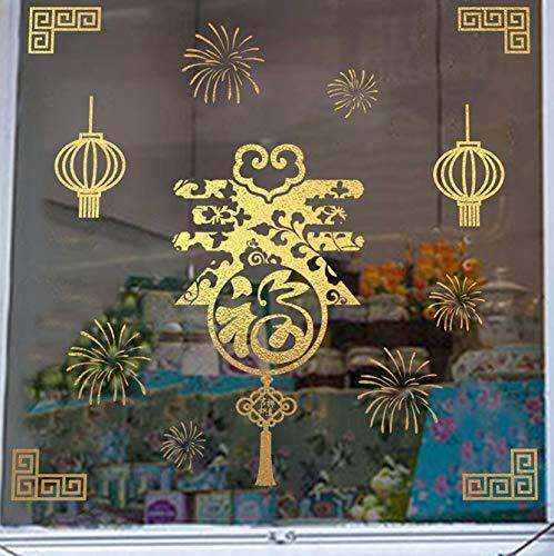 Glück Laterne Chinesischen Frühlingsfest Papier-Schnittmuster Wandtattoos Wohnkultur Schaufenster Neujahr Wandaufkleber Pvc Wandbild Kunst