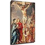 Lienzo de Cristo en la Cruz Arte de la pared Cristiano Religioso Jesús Impresión de Jesús Cruz Pintura de la pared Iglesia Sala Cuadros Decoración de Pared Marco1 16 × 24 pulgadas (40 × 60 cm)