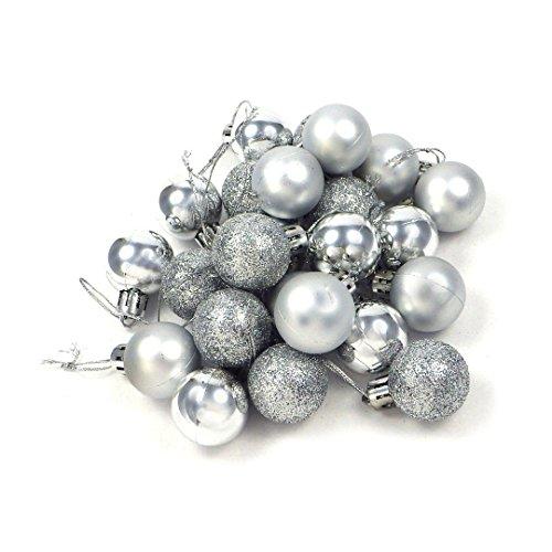 kleine Minni Dekokugeln Weihnachten Weihnachtskugeln Kugeln matt glänzend glitzernd 24 Stück 3,3cm Silber