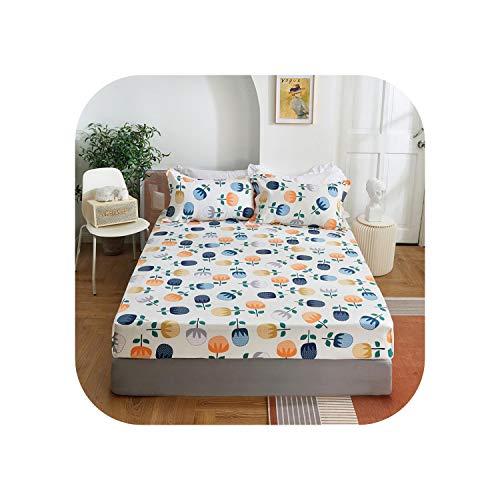 Star Harbor Atmungsaktive Blätter |2020 1 Stück Baumwolldruck Bettmatratze Set mit Vier Ecken und elastischen Bandblättern-mengxiangxiumibai-120X200X25cm