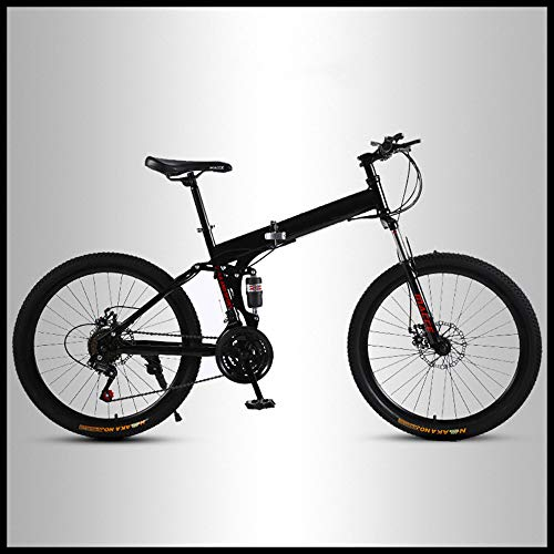 OFAY Folding Mountain Bike Off-Road Students Adult Men and Women Race Bike Commuter Foldable Bicycle Commuting Bicycle MTB with Spoke Wheel,Black,21 Speed