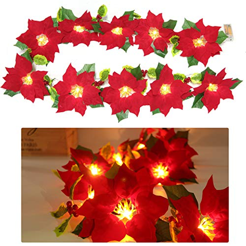 Coxeer LED Artificial Poinsettia Garland, Lighted Christmas Flower Garland Christmas Tree Decoration for Christmas Party Wedding
