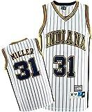 CDS Pacers Jerseys del Baloncesto de los Hombres -Indiana # 31 Reggie Miller Jersey, Respirable Fresco Tela Alero Unisex clásico sin Mangas de la Camiseta (Color : Yellow, Size : M:175cm/65~75kg)