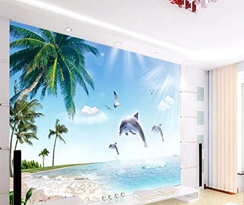 Sunny Beach fotobehang voor slaapkamer of televisie, motief: dolfijn, naadloos 350cm*245