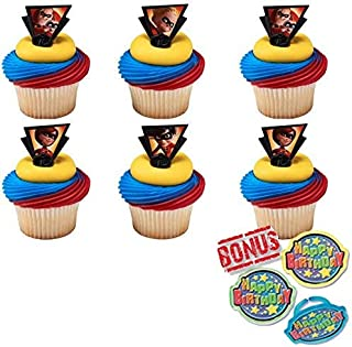 Bundle of Fun Incredibles 2 Dynamic Family Rings Cupcake Toppers and Bonus Birthday Ring - 25 Piece