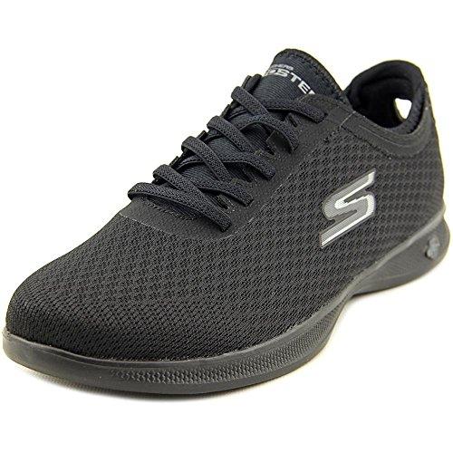 Skechers womens Go Step Lite - Temptation Walking Shoe, Black Mesh, 9.5 US