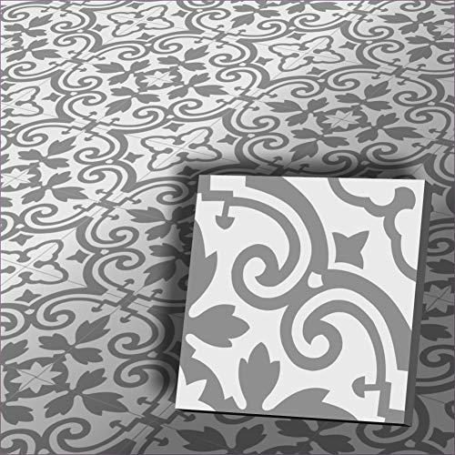 1m² Zementfliesen Vintage Fliesen Fingran weiß grau Bodenfliesen