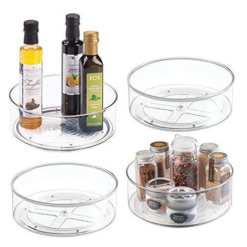 mDesign Plastic Lazy Susan Spinning Food Storage Turntable for Cabinet Pantry Refrigerator Countertop - Spinning Organizer for Spices Condiments Baking Supplies - 9 Round 4 Pack - Clear
