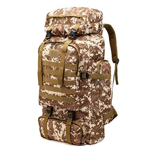 Kousa Sac à dos, 80 L, étanche, multi-poches, motif camouflage pour le camping, l'alpinisme, les sports de plein air