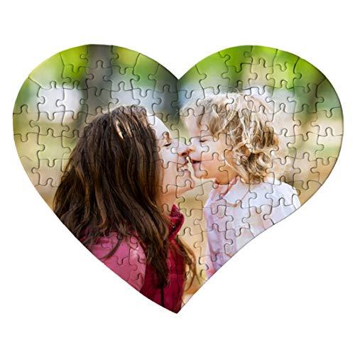Puzzle Corazón Personalizado con tu Foto Impresión dpi - Fabricado en Europa - Bonito Brilloso Tus Puzzles con tu Imagen Preferida - Regalo para Bebes - Madres Bodas Parejas - Rompecabezas Novios