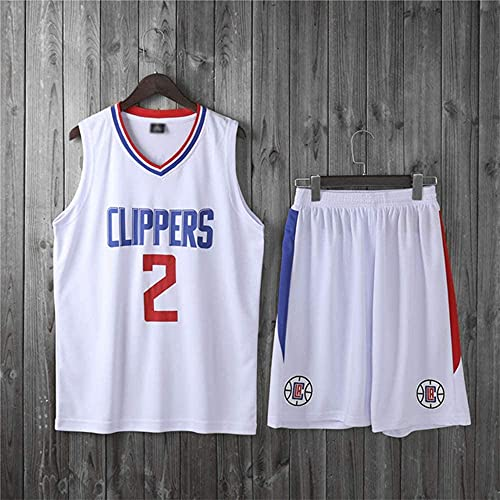 XUECHEN Ropa Uniformes de Baloncesto para niños, Clippers de Los Ángeles # 2 Kawhi Leonard NBA Jersey Trajes Deportivos Casuales Camiseta sin Mangas Tops + Shorts, White, 3XL (Adulto) 175~180 cm