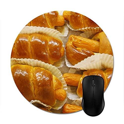 N\A Alfombrillas de ratón Redondas Hot Dog Cake Asian Postre Food Print Mouse Mat 8in