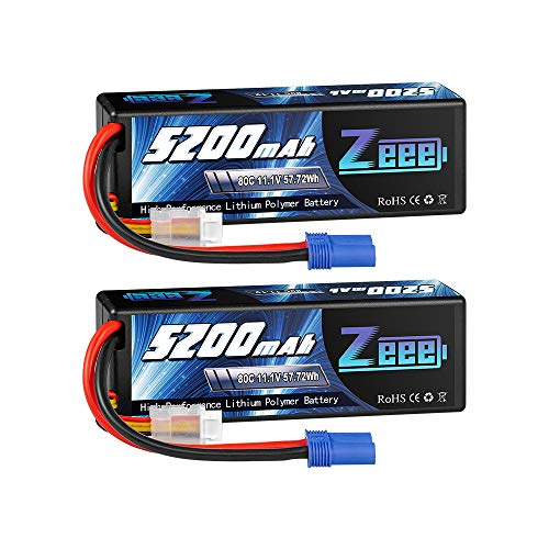 Zeee 11.1V 80C 5200mAh 3S Lipo Battery with EC5 Connector Hardcase Battery for RC Car Boat Truck Helicopter Airplane Racing Models(2 Packs)