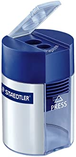 Staedtler Metal Double Hole Sharpener with Tub, 512001BK