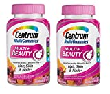 Centrum MultiGummies Multi+Beauty Supports a Healthy and Beautiful Body + Hair Skin and Nails in Natural Cherry Berry and Orange Flavors with Other Natural Flavors (90 Gummies) Pack of 2