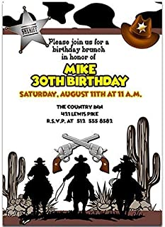 Cowboy Animal Print Birthday Party Invitations