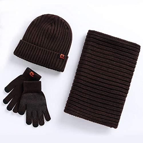 3 Piezas, Invierno Beanie Sombrero + Bufanda + Touch Screen GlovesHat Bufanda del Guante, Casquillo del cráneo de Punto Grueso (Color : Brown)