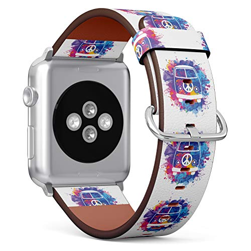 (Watercolor Hippie Van) Patterned Leather Wristband Strap for Apple Watch Series 4/3/2/1 gen,Replacement for iWatch 38mm / 40mm Bands