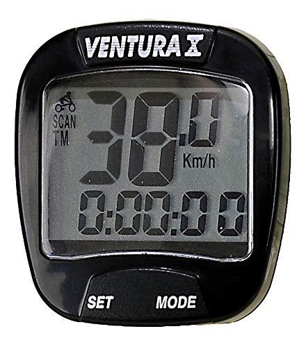 Ventura 10 Funktionen Fahrradcomputer Tacho m. Doppelanzeige - 4 Farben - 01210101 (schwarz)