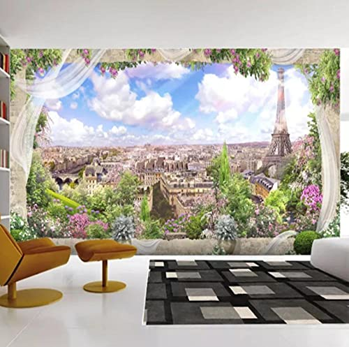 Glfeng Benutzerdefinierte Wandtuch 3D Stereo Europäische Fenster Paris Landschaft Fototapete Wohnzimmer Schlafzimmer Hintergrund Papel de Parde-150cmx105cm
