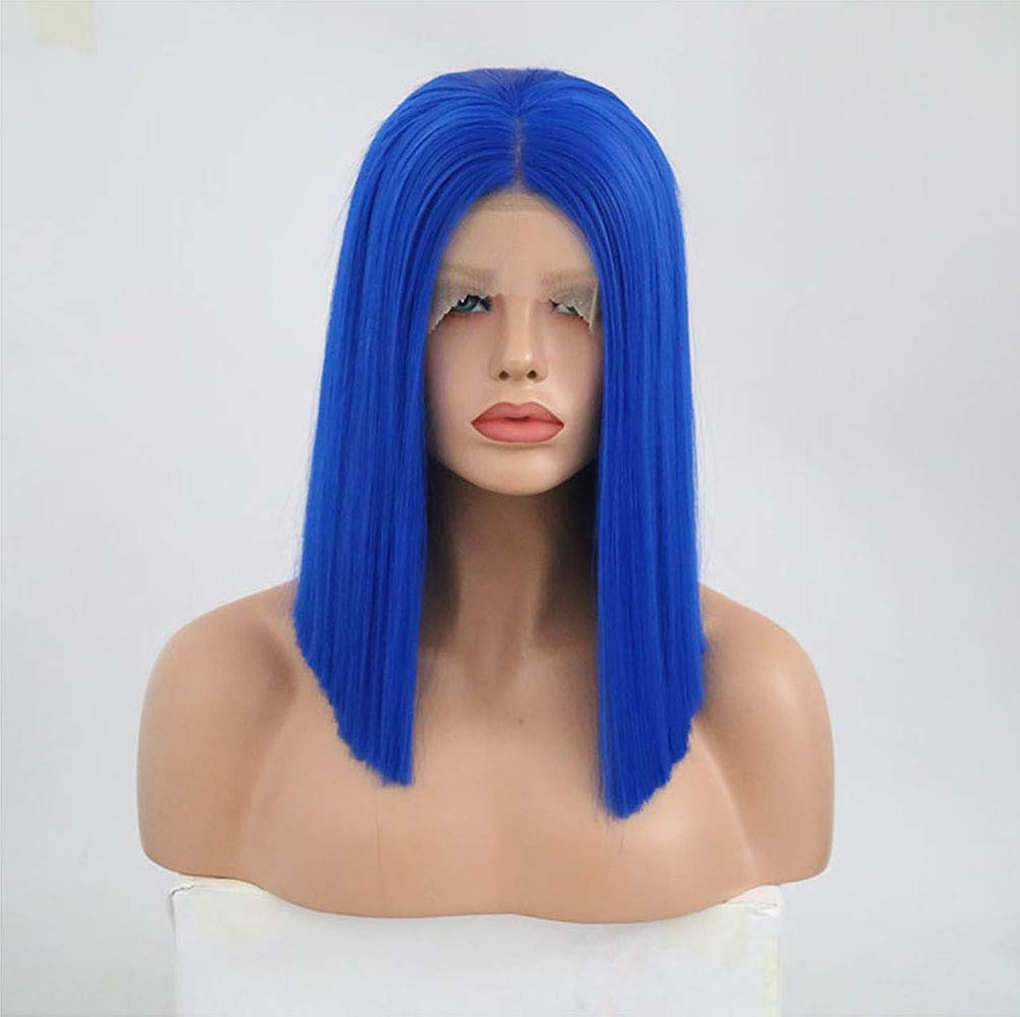 六月正しいそして女性用フロントレースストレートウィッグ耐熱合成毛ウィッグ+ウィッグキャップブルー