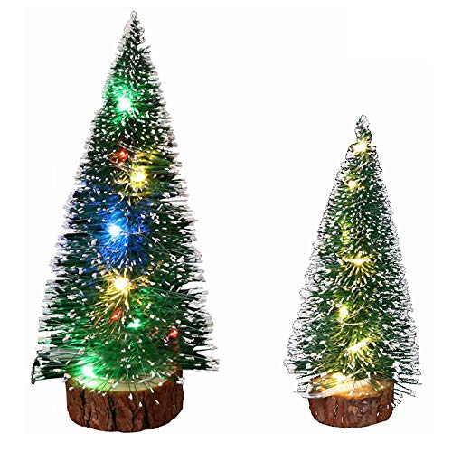 Small Christmas Tree, Desktop Miniature Pine Tree, Small Pine Tree Decoration Mini Christmas Tree, 2 Decorated Christmas Trees with Lights, 11 Inches and 7.8 Inches Xmas Holiday Decor