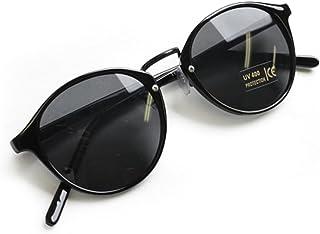 (RAKUGAKI) 伊達メガネ おしゃれ 丸めがね 黒縁 ボストン サングラス ブラック/ブラック