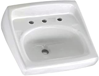 American Standard 0356.028.020 Lucerne Wall-Mount Lavatory Sink with 8-Inch Faucet Spacing for Exposed Bracket Support, White