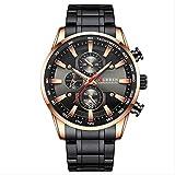 Uhr Für Männer Schwarz Gold Quarz Sport Armbanduhr Mens Chronograph Clock Date Edelstahl Männliche Uhren Sülze