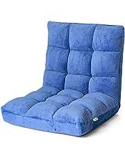 COSTWAY Sofá Perezoso Individual Plegable Asiento Cojín de Suelo con Respaldo Silla de Meditación (Azul)