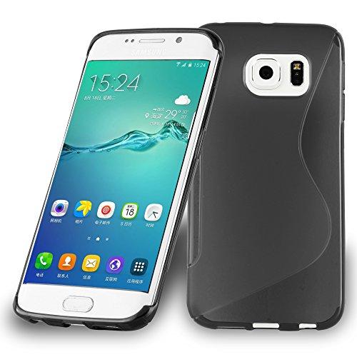Preisvergleich Produktbild Cadorabo Hülle für Samsung Galaxy S6 Edge Plus - Hülle in Oxid SCHWARZ Handyhülle aus flexiblem TPU Silikon im S-Line Design - Silikonhülle Schutzhülle Soft Back Cover Case Bumper