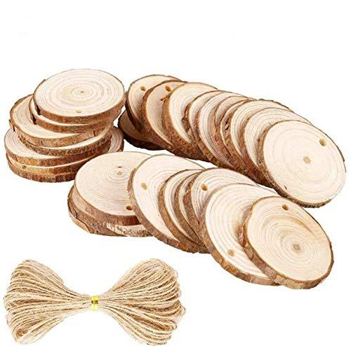 Batreetek 木材チップ 木のスライス 木製カード 結婚式 パーティー 誕生日 装飾品 撮影用 小物DIY 手芸材料 円形 穴付き 直径6-7cm 30枚セット+10M縄