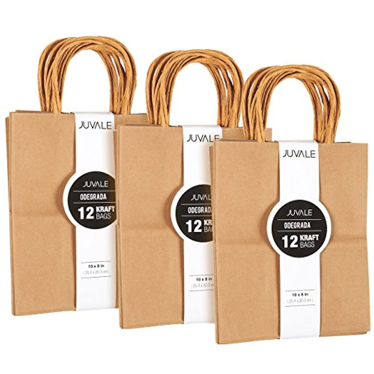 36-Count Brown Kraft Bags - Paper Bags with Handles, Great as Wedding Favor Bags, Shower Favor Bags, Bridal Party Gift Bags, Medium, 8 x 10 x 4.5 Inches
