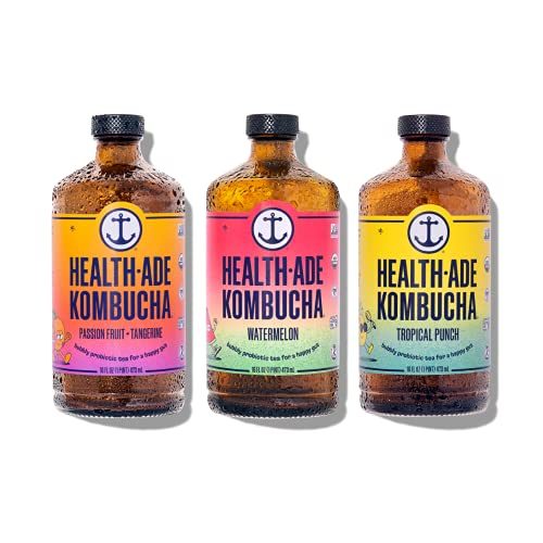 Health-Ade Kombucha Tea Organic Probiotic Drink, 12 Pack Case (16 Fl Oz Bottles), Paradise Variety Pack (Tropical Punch, Watermelon, Passion Fruit-Tangerine), Low Sugar, Gluten Free, Vegan, Kosher