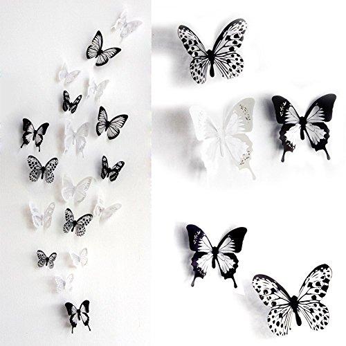 壁飾り 3D蝶のウォールステッカー インテリア 部屋小物 (36匹入り)小、中、大3サイズ混合