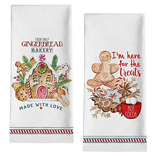 Seliem Christmas Gingerbread Man Decorative Kitchen Dish Towel, Xmas Holly Candy Cane Bath Towel Tea Bar Hand Drying Bakery Cloth, Farmhouse Winter Holiday Hot Cocoa Cookie Decor Home Decoration 18x28