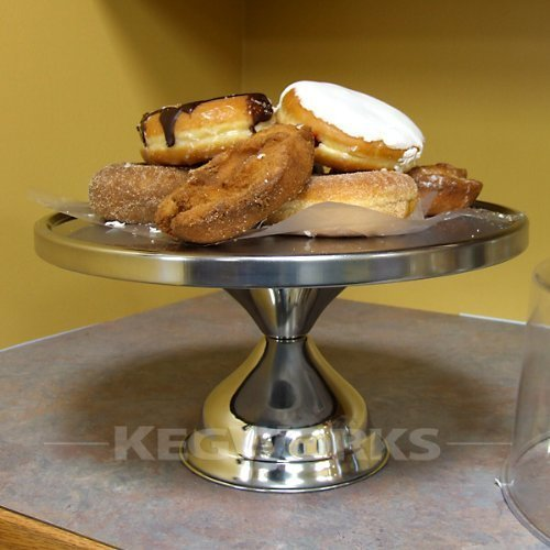 Winco CKS-13, 13 Inch Stainless Steel Round Cake Stand, Display Platter, Pastry Cake Tray, Set of 3