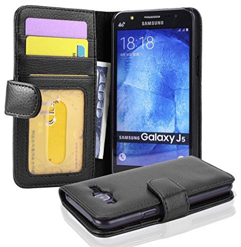 Cadorabo Custodia Libro per Samsung Galaxy J5 2015 in NERO PROFONDO - con 3 Vani di Carte e Chiusura Magnetica - Portafoglio Cover Case Wallet Book Etui Protezione