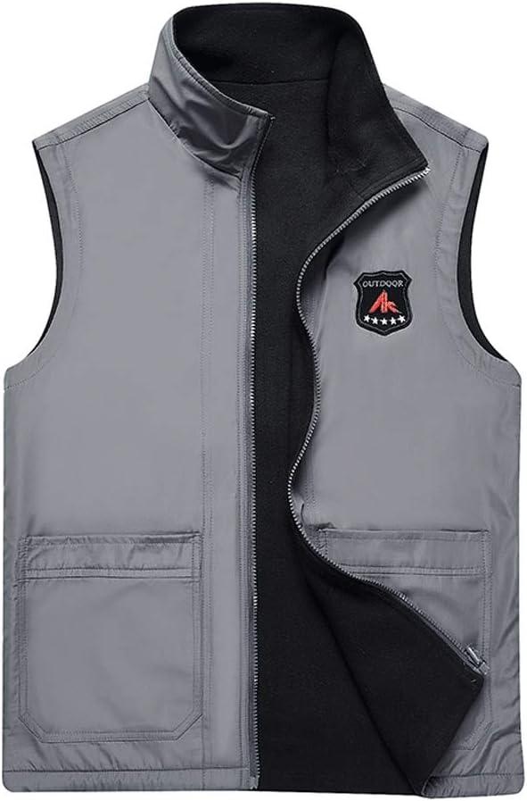 TXXM Cotton Vest Winter Men's Thick Vest Sleeveless Jacket Large Size Multi-Pocket Outdoor Vest Shoulder Coat (Color : A, Size : L)