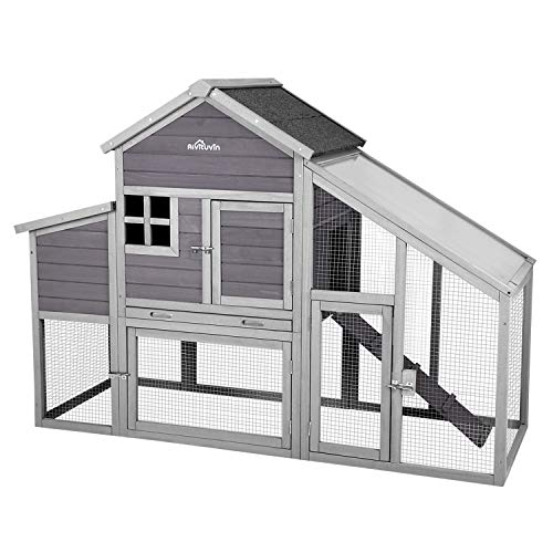 Aivituvin Chicken Coop 65' Wooden Hen House with Large Nesting Box, Outdoor Poultry Cage with Removable Tray,UV Proof Panel Roof